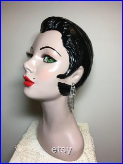 15'' vintage mannequin head art deco mannequin head hand painted mannequin head bust ooak restored