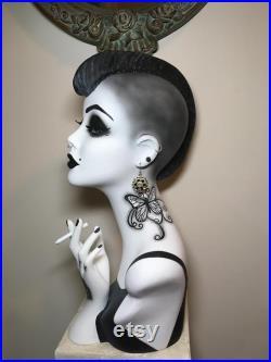 19'' art deco mannequin head hand painted mannequin head goth girl tattoos vintage mannequin head bust