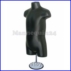 4 Mannequins a Family Torso Dress Body Form Set Black with 4 Hangers 4 Stands