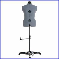 Adjustable Dress Form Manikin Mannequin Stand Garment Display- Medium (Dress Sizes UK 14-20) Grey