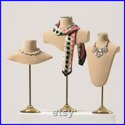 Adjustable Height Bust Form, Chest Mannequin for Jewelry Display,Fashion Necklace Display Holder,Model Torso for scarves Storage