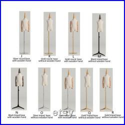 Adjustable Height Child Kids Mannequin, Half Body Mannequin with Metal Base, Child Mannequin With Wooden Hand, Flexible Wooden Finger, KS312
