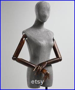 Adjustable Height Female Mannequin, Half Body Mannequin with Metal Base, Adult Mannequin With Wooden Hand, Flexible Wooden Finger, KS505