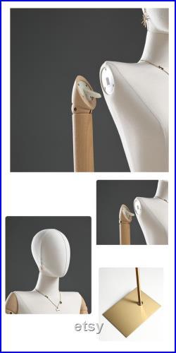 Adjustable Height Female Mannequin, Half Body Mannequin with Metal Base, Adult Mannequin With Wooden Hand, Flexible Wooden Finger, KS315