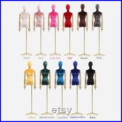 Adjustable Height Velvet Female Mannequin,Half Body Model with Plated Golden Arms,Adult Women Torso Dress Form for Window Clothes Display