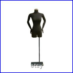 Adult Female Black Pinnable 3 4 Dress Form Mannequin Torso with Flexible Arms F02SARM