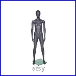 Adult Female Fiberglass Flexible Movable Elbow Athletic Matte Gray Mannequin FFXG