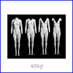 Adult Female Full Body Matte White Fiberglass Headless Invisible Upper Body V-Neck Ghost Mannequin GH1-S