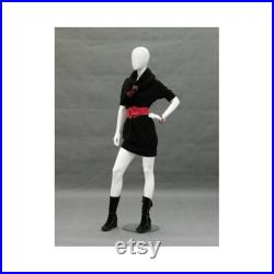 Adult Female Glossy White Faceless Fiberglass Fashion Mannequin with Metal Base GF12W