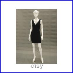 Adult Female Glossy White Full Body Fashion Mannequin with Face and Molded Hair ABBYW2