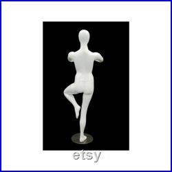 Adult Female Glossy White Tree Pose Yoga Faceless Fiberglass Mannequin YOGA02W