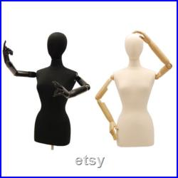 Adult Female Mannequin Dress Form Pinnable Torso with Flexible Arms and Base F6 8WBKARM