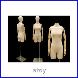 Adult Female Off White Linen Dress Form Mannequin Torso with Articulating Arms and Removable Head F2LARM
