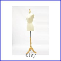 Adult Female Off White Pure Linen Pinnable Dress Form Mannequin Torso with Base F2468L