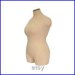 Adult Female Plus Size Mannequin 3 4 Dress Form Pinnable Torso with Shoulders and Thighs FF2WPL