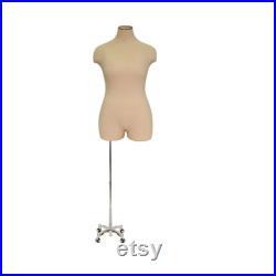 Adult Female Plus Size Mannequin 3 4 Half Body Dress Form Torso with Caster Base Personalize Option Monogram