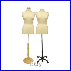 Adult Female Plus Size Off White Dress Form Mannequin Pinnable Torso with Base and Neck Cap F14 16 18 20W