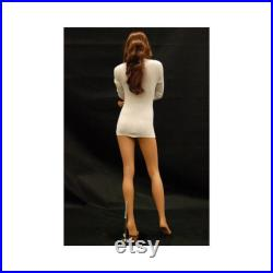 Adult Female Realistic Face Fiberglass Fashion Mannequin with Base and Wig FR10