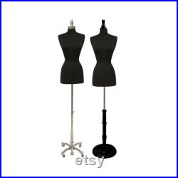 Adult Female Torso Dress Form Pinnable Black Mannequin Display with Base and Neck Cap FWPBK