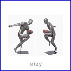 Adult Male Athletic Muscular Fiberglass Running Back Football Player Mannequin with Metal Base BRADY10