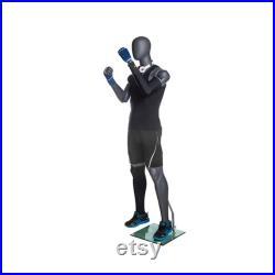 Adult Male Fiberglass Flexible Movable Elbow Athletic Matte Gray Mannequin MFXG