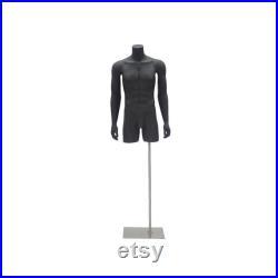 Adult Male Matte Black Headless 3 4 Mannequin Fiberglass Torso with Base TMBK
