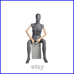 Adult Male Matte Gray Seated Egg Head Fiberglass Mannequin with Flexible Wooden Arms and Fingers QS4