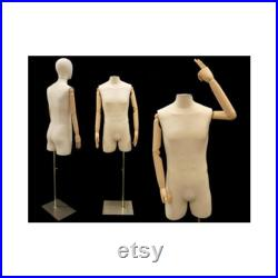 Adult Male Off White Linen Dress Form Mannequin Pinnable Torso with Articulating Arms and Removable Head M2LARM