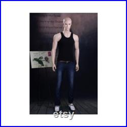 Adult Male Realistic Fiberglass Full Body Mannequin with Molded Hair and Base WEN7