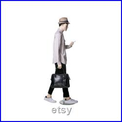 Adult Male Realistic Fleshtone Fiberglass Mannequin Walking with Cell Phone Pose MHP2