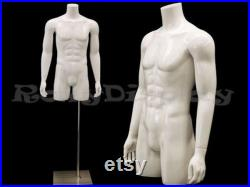 Adult Men's Fiberglass Torso Headless Mannequin with Thighs and Base TMwithS