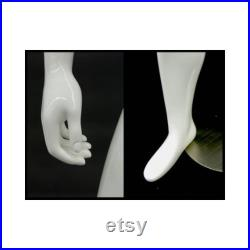 Adult Men's Glossy White Egg Head Fiberglass Standing Mannequin with Base GM53W1-S
