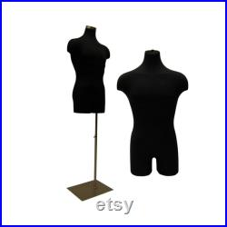 Adult Men's Pinnable Black Mannequin Dress Form Torso with Shoulders and Thighs with Base 33MLEG02