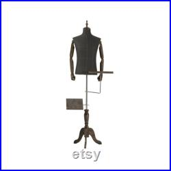 Adult Size Male Fabric Mannequin With Wooden Hands Men Model with Wooden Base Half Body Store Window Display Mannequin Torso Dress Form