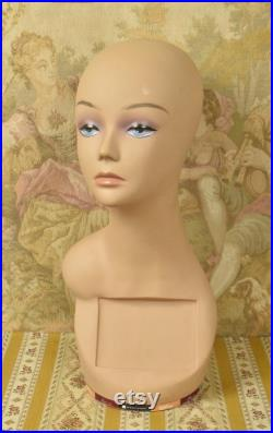 Amazing Vintage French Swivelling Shop Mannequin Bust Millinery Wig Stand