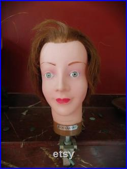 Antique FRENCH mannequin head or postiche d'art made by J. Leclabart 1940's, for hairdressing, hatstand, display, vintage collector, deco.