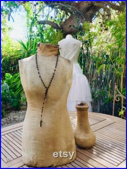 Antique French mannequin, rare vintage tailor's dummy shop display dress form from the 1800's early 19th century, shabby cottage chic home