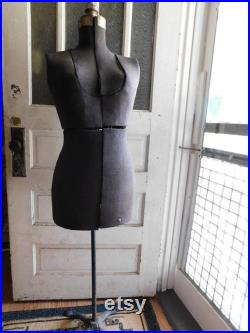 Antique Mannequin. Tailoring Mannequin. Adjustable Dress Form. Art Deco Metal Stand. Ash Gray Cloth. French Style Victorian Bust Body