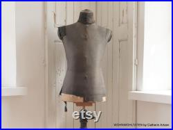 Antique tattered black tailor mannequin Male tailor bust with wooden stand Dress Forms from a tailor shop Boudoir decoration