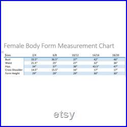 Black Female Body Form Sizes 2 4, 6 8, 10 12, 14 16, 18 20 with Base Personalize Option Monogram