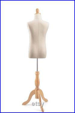 Child Display Dress Form in Natural Canvas on Traditional Wood Tripod Base by TSC