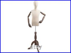 Child Display Dress Form in Natural Canvas on Traditional Wood Tripod Base by TSC (Arms and Head Edition)