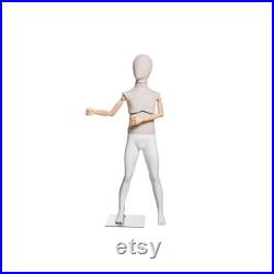 Child Fiberglass and Linen Covered Removable Egg Head Flexible Arm Mannequin KFLX01