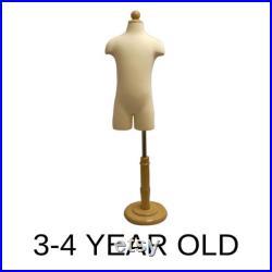 Child Toddler Kids Half Body Dress Form Infant Pinnable Mannequin Torso with Wooden Base JF-11C