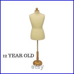 Child Toddler Kids Half Body Pinnable Dress Form Infant Mannequin Torso with Wooden Base JF-C