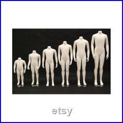 Childrens Matte White Headless Kids Full Body Fiberglass Mannequin with Metal Base CWY