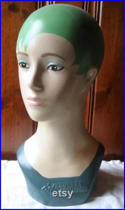 Contemporary Pixie Cut Mannequin Head Millinery Hat Stand Artist Painted Custom Milliner's Mannequin Shop Photo Prop Green Hair