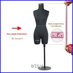 DL262 Half Scale Dress Form uk size 6, 43cm Body Height 1 2 Miniature Female Fiberglass Trouser Dummy Fitting Mannequin Torso, Black color