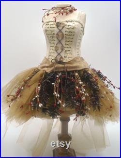 Dress Form Tree Mannequin Torso Mannequin Vintage Girl Dress Mannequin Tabletop Dress Form Centerpiece Dress Mannequin Decorated