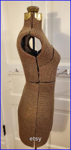 Dress Makers Dress Form, Black Brown Cream Knit, Large Size, Bust 32-38 , Waist 24-30 , Hip 35-42 , Adjustable All Over, Up Down, 279.95